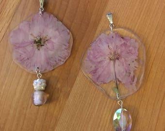 Pink Kanzan Cherry blossom pendant