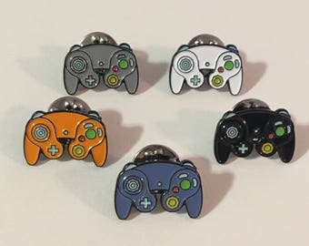 Nintendo Gamecube Controller  Enamel Lapel Pin in 4 Colors