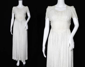 1940s White Floral Lace Dress