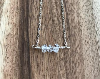 Mini Delicate Herkimer Diamond Necklace with  Sterling Silver Chain, Herkimer Diamond Necklace, Layering Necklace