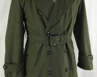 Vintage 70s Army Trench Coat Size Small Short Canvas Military Lined OverCoat
