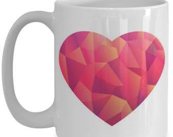 15 oz Pink heart mug