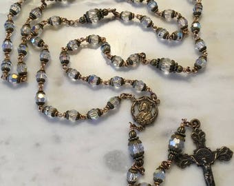 Bridal Rosary - Handmade Clear AB Crystals and Bronze Medals