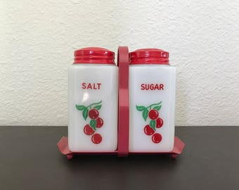 Tipp City Milk Glass Salt and Sugar Shaker Cherry Berry with Tray