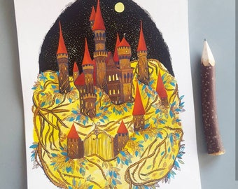 Painting - Sleeping beauty Castle