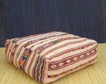 Moroccan pouf, Vintage pouf, Moroccan foot stool, Moroccan ottomans, Rug Pillow, Kilim pouf, Boho foot stool, Moroccan bohemian, Kilim