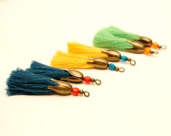 6 PomPoms blue teal, yellow, Apple green, bronze metal, Tassel