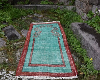 Traditional Rare Unique Decorative Vintage Turkey Rug 2.3 x 4.7 feet Vegetable Dyed Turkish Rug Tribal Oushak Rug Area Rug Floor Boho Rug