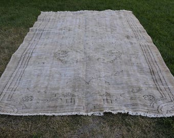 Muted Colored Free Shipping Vintage Rug 6.1 x 9.1 feet Decorative Rug Bohemian Rug Pale Rug Boho Rug Tribal Rug Area Rug Code246