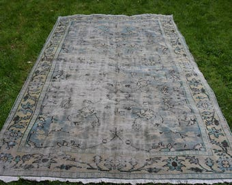 Bohemian Rug Rustic Rug Free Shipping 6 x 8.6 feet Pale Color Large Area Rug Old Anatolian Rug Oushak Rug Handknotted Vintage Rug DC673