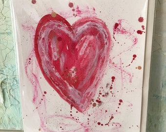 4 Original Hearts Greeting Cards, Greeting Cards, Heart cards, Hand Painted Cards, Valentines, Artistic Greetings,