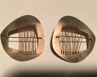 Brutalist silver earrings