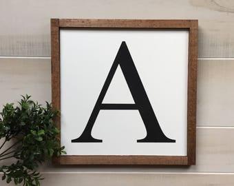 Monogram wooden sign / gallery wall decor / lastname monogram / letter wood sign / farmhouse sign / home decor / wall decor