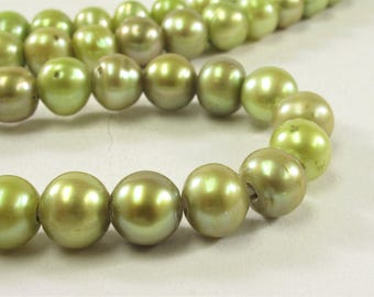 8.5-10 mm Large Hole Potato Freshwater Pearl Beads in Medium Champagne OR Green, 2 mm Hole, Genuine Freshwater Pearl Beads  (321-LHPMIX09)