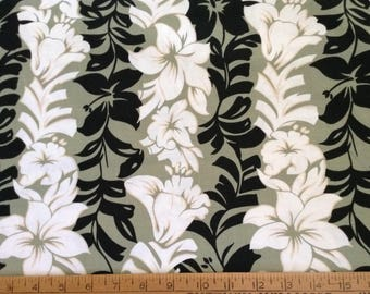 Tropical floral print cotton fabric by the yard