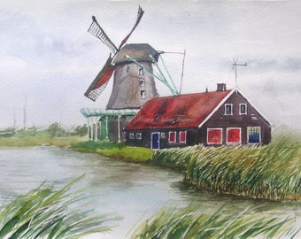Original painting, watercolor, watercolor landscape , summer landscape, windmill, Holland landscape, wall art, painting of windmill