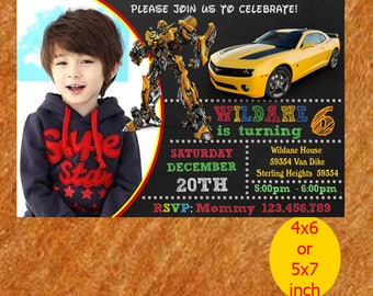 Bumble Bee Transformer Birthday Invitation, Bumble Bee Invitation, Bumble Birthday, Bumble Bee Party, Bumble Bee Printable, Instant Download