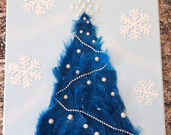 Blue feather christmas tree mixed media canvas #11x14 #mixedmediaart #chrismastreecanvas #christmastreewallart #christmasdecoration #feather