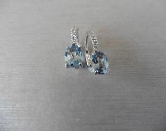 1.60ct / 0.06ct aqua marine and diamond earrings