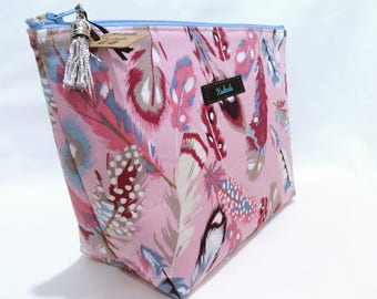 Feather Print Large Make up Bag, Large Cosmetic Bag, Toiletry Bag, Travel Bag, Large Deep Bag, Pink Feather Print, Metallic, Gift for her.