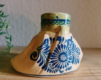 Ceramic Blue and Nude Mexican Candlestick Holder with Handle