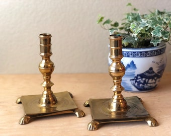 Large Ornate Brass Candlestick Holders with Feet