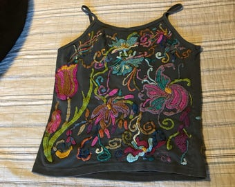 Gray Spaghetti Top with colorful embroidery