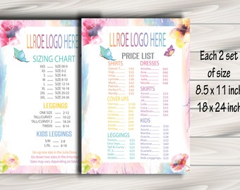 Newest style LLRoe Price List and Size Chart 18x24 and 8.5x11 inches, Home Offcie Approved Colors & Fonts - watercolour