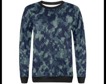 Blue Camo Crew Neck Pullover Sweatshirt for Women