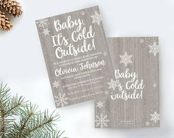 Baby its cold outside, Winter Invitation, Baby its cold, Snowflake invitation, Christmas Invitation, Winter baby shower, Baby Shower