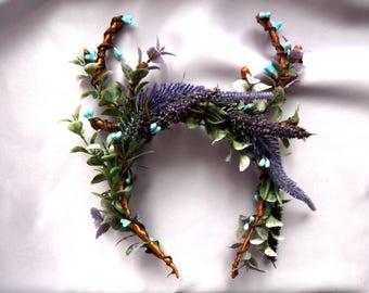 Antler Headband  Deer horns Rustic Antler Wedding Invitation Flora Deer Crown