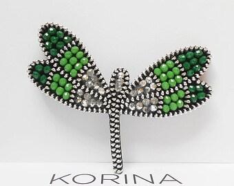 Dragonfly Brooch - Green Brooch - Beaded Brooch Dragonfly - Zipper Brooch - Zipper Jewelry