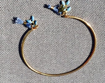 Tassel Cuff Bracelet, Gold Cuff, Thin Bracelet, Gold Bracelet, Bridesmaid gift