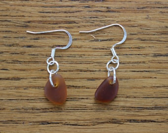Brown beach glass dangle earrings