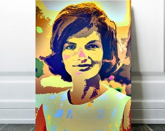 Jackie Kennedy Onassis Art, Print or Canvas, Jacqueline Kennedy Picture, JFK, First Lady, Fashion Icon, Fashion Wall Decor, Presidents Wives