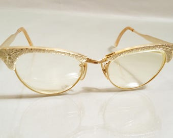 1960s 1/10 12KT Gold Filled GF Cat Eye Aluminum Eyeglasses Wire Frames Floral Embellishment Retro Pinup 60s 50s 1950s Womens Glasses