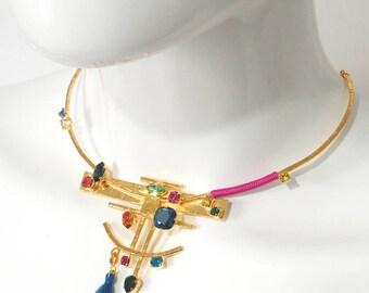 Gold torque necklace yellow gold feathers, crystals Swarovski AMAZINKA