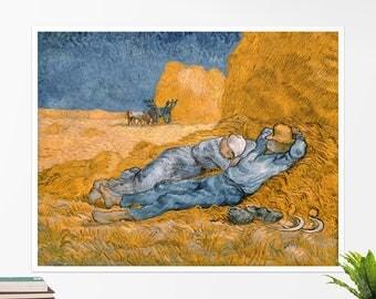 "Vincent Van Gogh, ""Noon, Rest from Work"". Art poster, art print, rolled canvas, art canvas, wall art, wall decor"