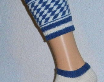 Bavarian calf socks Wadenwärmer leggings blue/natural diamonds