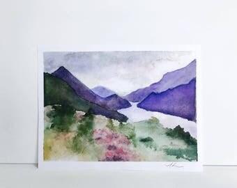5 1/2'' x 7 1/2'' Landscape Watercolor Painting Print, Art Print, Watercolor Print, Watercolor Decor