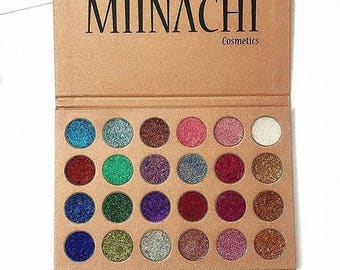 Miinachi Cosmetics 24K Pressed Glitter Palette 24 Colours Pigmented Water Proof Perfect Make Up Eyeshadow Party Gift No Glue Needed