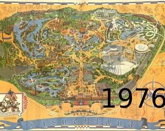 Vintage Disneyland Map Large Poster Print Large Disney - Disneyland brazil map