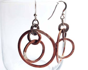 Copper Multiple Hoop Earrings/Handmade Hoop Earrings/Copper Circle Earrings/Gift For Her/Dangling Hoop Earrings/Rustic Handmade Earrings