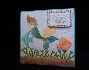 Birthday card, happy birthday card, homemade card, handmade card,mermaid card, mermaid birthday card, stampin up card