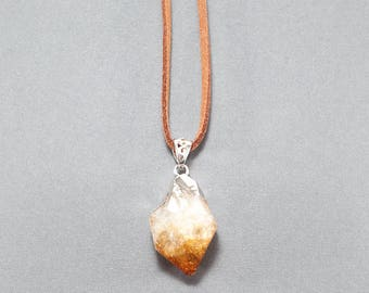 Citrine Pendant Faux Suede Necklace