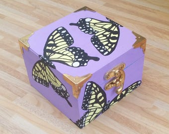Hand painted, unique lilac and yellow butterfly trinket box, with teal interior. Home decor, home wares, butterflies, purple, gift for her