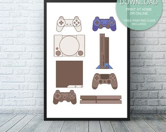 Video game room wall decor, Sony Video Game Decor, PS4 Print, Playstation, Video Game Art, Printable ART PRINT, Game Controllers, Man cave