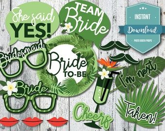 Party Printable Photo Booth Props, Tropical Bachelorette, Jungle Bachelorette Party, Bridal Shower, Instant Download, Tropical Bridal Shower