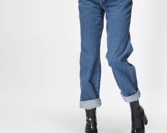 GMV JEANS vintage full 90s - high waist - straight leg - high rise tapered jeans  - medium blue wash - small -/// free SHIPMENT ///