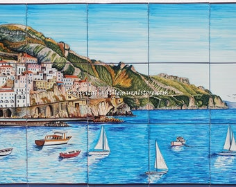 Hand painted beautiful tile mural of Amalfi. Custom tile. Wall mural art. Decorative tile art. Bathroom mosaic tile. Wall mural landscape